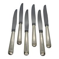"""French Christofle """"Talisman"""" Silver Plate Modern Solid 9 3/4"""" Dinner Knives"""