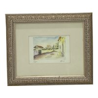 """Late 20th Century Italian Watercolor Pen and Ink """"Tuscan Village"""" Framed Print"""