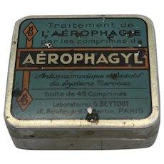 "Vintage French ""Aerophagyl"" Tin Box"