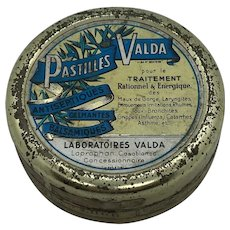 Vintage French Pastille Valda Lithograph Tin Box