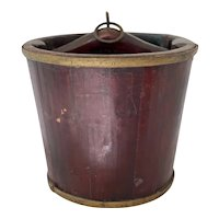 Primitive Farm Dark Red with Brass Bands Wooden Well Bucket