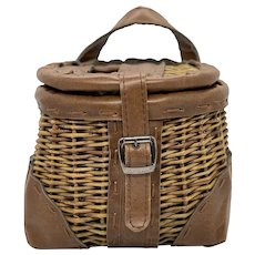 1980's Doc Seifert Woven Wicker and Leather Fly Fishing Creel Basket
