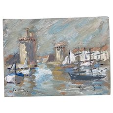 Contemporary French Impressionist Seascape Gouache Painting by Fanch Lel