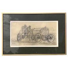 Peter Helck (1893-1988) Original Pencil Drawing No. 9 Car Automobilia