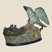 Antique Authentic Original American Eagle and Eaglets Mechanical Bank JE Stevens
