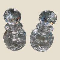 Art Deco Crystal Hand Blown Cut Glass Bottles Pair