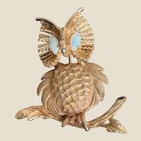 14K Solid Gold Pin Owl Design Oval Fire Opal Eyes Estate Vintage
