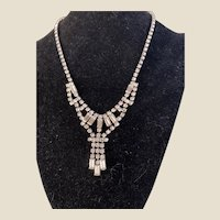 Quality WEISS 1940's 50's Original Rhinestone Drop necklace Original