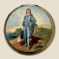 Enamel Guilloche Blue Boy Sterling Compact Germany