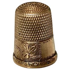 Gold Plated Sewing Thimble Simon & Bros. Victorian Excellent
