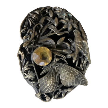 """Detailed sash Art Nouveau naturalistic elements butterfly, small lizard, bird and Leaves Flowers Brass 3"""""""