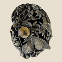 """Detailed sash cord buckle engraved carved Art Nouveau Brass 3"""""""