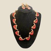 Red Enamel Copper Parure Necklace Dangle Earrings Modernist Matisse