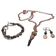 Japanese garden... jewelry set made of emeralds, amethyst and green agate