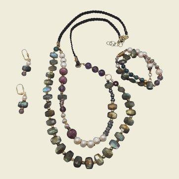 Serenity Now... jewelry set of Labradorite and multiple gemstones