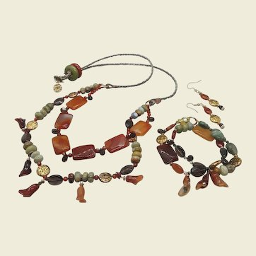 Honey and Coins... jewelry set made of carnelian and multiple gemstones