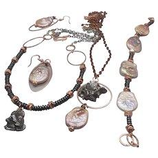 Nebula Of Andromeda... jewelry set made of meteorite, hematite and keshi pearls