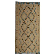 Beige Wool Turkish Kilim Rug- 193x390cm