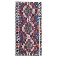 Geometric Vintage Turkish Anatolian Area Rug 1930-170x350cm