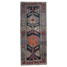 Antique Tribal Caucasian Azerbaijan Runner Rug 105x244cm