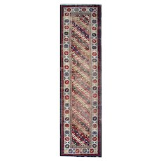 Antique Caucasian Azerbaijan Wool Runner Rug- 90x323cm