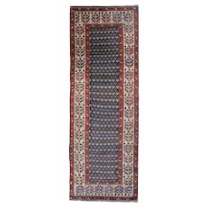 Hand Woven Antique Persian Kurdish Runner Rug 140x338cm