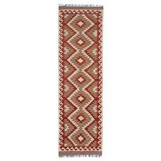 Geometric Afghan Kilim Runner Rug, Handwoven Vintage Oriental Wool Rug