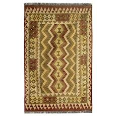 Handwoven Wool Kilim Rug, Traditional Afghan Kilim Area Rug 102x154cm