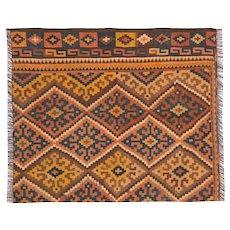 Orange Handmade Kilim Rug, Traditional Flat-woven Wool Rug- 95x110cm