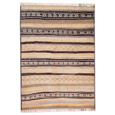 Striped Afghan Kilim Rug, Brown Oriental Wool Area Rug- 98x250cm