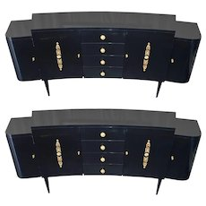 Pair of Black Lacquer Commodes by Kelly Wearstler