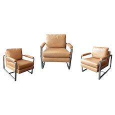 Set of Three Mitchell Gold + Bob Williams Chrome Armchairs