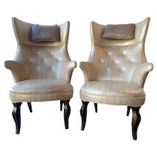 Pair of Frits Henningsen Highback Wing Chairs, Denmark,1950.