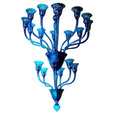 Vintage Blue Murano glass Chandelier by Barovier e Toso, 1970's.