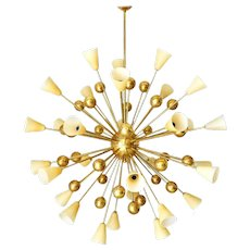 Italian Chandelier with Amber Murano Glass and Brass, 1990's.