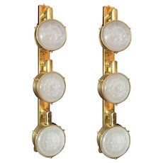 Limited Edition Pair of Murano Frosted Glass Sconces, Circa 1990's.