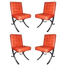 Set of 4 Vintage Italian Mini Barcelona Chairs