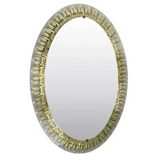 Italian Oval Mirror w/ Clear Beveled Glass & Gold Leaf Designed by Cristal Arte, 1950s
