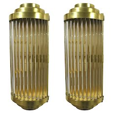 Pair of Italian sconces in clear crystal w/ bar tubes, mounted on polished brass frames / Made in Italy