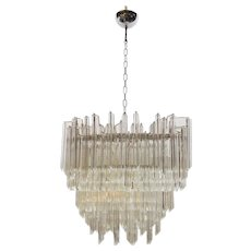 1970s Clear Tiered Glass Chandelier