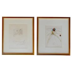 """Pair of Salvador Dalí etchings on paper, """"Woman with the flower""""and """"Leaving the level of anger"""""""