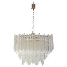 Venini, Tiered Glass Chandelier. Italy, 1970s