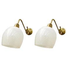 Pair of Original Vintage Italian Sconces w/ Clear and White Murano Glasses Designed by Barovier e Toso, circa 1960s