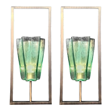 Set of Eight Limited Edition Italian Emerald Green Sconces, 21st Century
