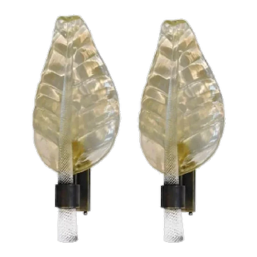 Pair of Murano Leaf Shaped Sconces, 1980's