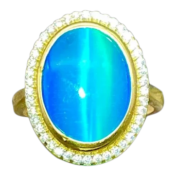 14k Yellow Gold Catseye Cocktail Ring size 7.25