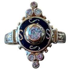 14k Yellow Gold Victorian Diamond Ring