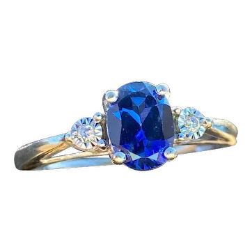 10k White Gold Synthetic Sapphire and Diamond Ring Size 10-10.25