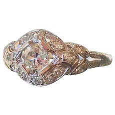 GIA Certified Edwardian Art Deco Diamond Engagement Ring