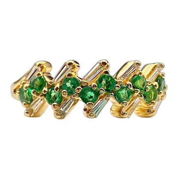 18k Yellow Gold Diamond Baguette and Round Emerald Band Ring 6.5